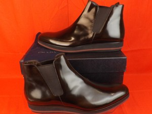 Prada Dark Brown Mens Chelsea Patent Leather Elasticized Ankle Boots 11 Us 12 Shoes