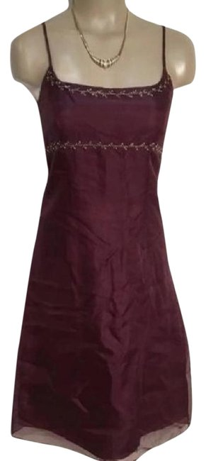 Preload https://img-static.tradesy.com/item/21475244/ann-taylor-brown-floral-embroidered-trim-mid-length-short-casual-dress-size-2-xs-0-1-650-650.jpg