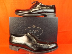 Prada Black Mens Patent Leather Lace Up Wingtip Perforated Oxfords 10 11 Shoes