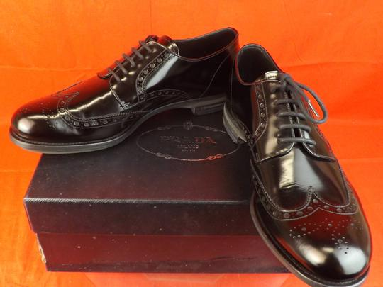 Prada Black Mens Patent Leather Lace Up Wingtip Perforated Oxfords 10 Us 11 Shoes Image 1