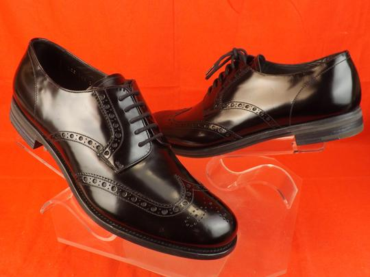 Prada Black Mens Patent Leather Lace Up Wingtip Perforated Oxfords 10 Us 11 Shoes Image 3