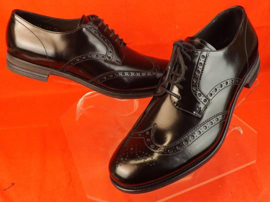 Prada Black Mens Patent Leather Lace Up Wingtip Perforated Oxfords 10 Us 11 Shoes Image 4