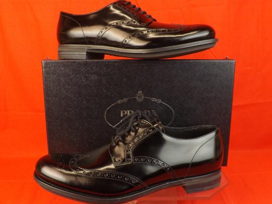 Prada Black Mens Patent Leather Lace Up Wingtip Perforated Oxfords 10 Us 11 Shoes Image 5