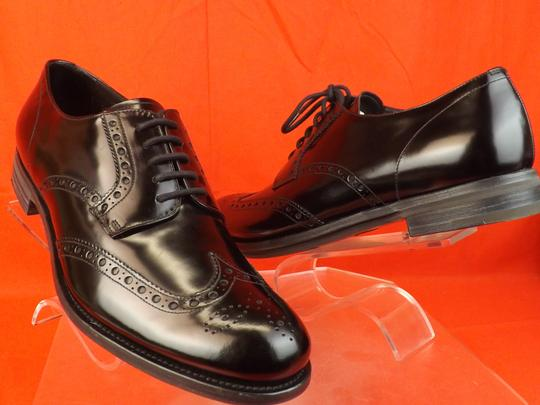 Prada Black Mens Patent Leather Lace Up Wingtip Perforated Oxfords 10 Us 11 Shoes Image 6