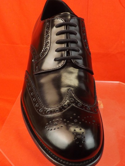 Prada Black Mens Patent Leather Lace Up Wingtip Perforated Oxfords 10 Us 11 Shoes Image 8