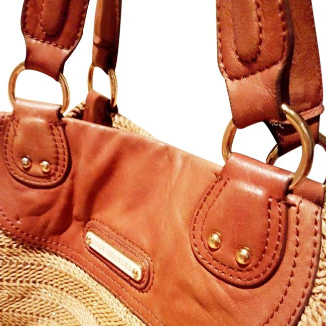 Item - Woven Tote Tan Beige & Brown with Yellow Gold Hardware/Logo Leather Beach Bag