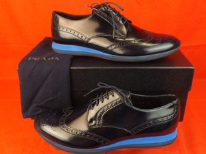 Prada Mens Navy Patent Leather Lace Up Wingtip Perforated Oxfords 7 8 $890
