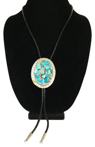 Unbranded incredible vintage turquoise nugget cluster Sterling silver bolo tie