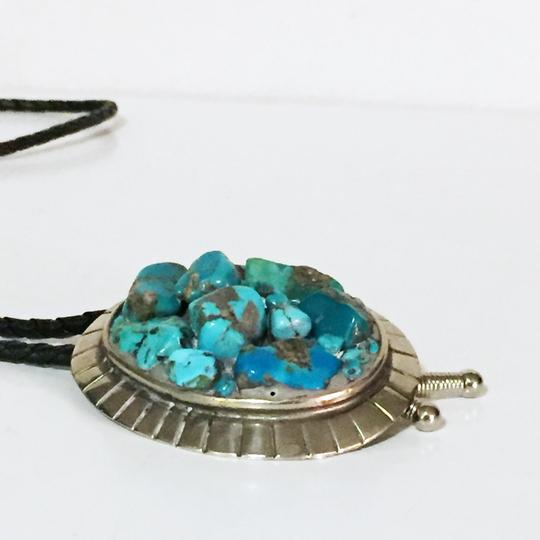 Unbranded incredible vintage turquoise nugget cluster Sterling silver bolo tie Image 5