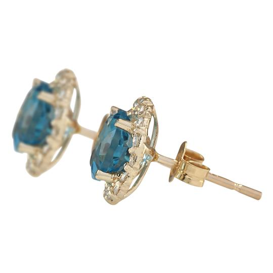 Fashion Strada 3.65 CTW Natural Blue Topaz And Diamond Earrings 14k Solid Yellow Gold Image 1