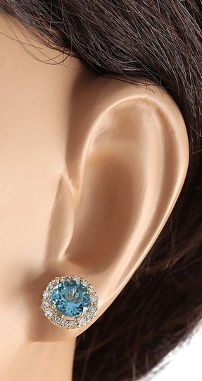 Fashion Strada 3.65 CTW Natural Blue Topaz And Diamond Earrings 14k Solid Yellow Gold Image 2