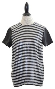 Rachel Zoe Striped Sequin Leather Top Black/White