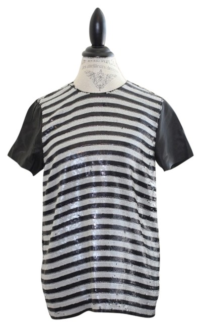 Preload https://item5.tradesy.com/images/rachel-zoe-blackwhite-nichols-and-striped-sequin-with-leather-short-sleeves-night-out-top-size-6-s-2147619-0-0.jpg?width=400&height=650