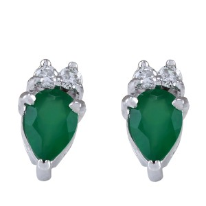 Fashion Strada 1.82 Carat Natural Emerald 14K White Gold Diamond Earrings