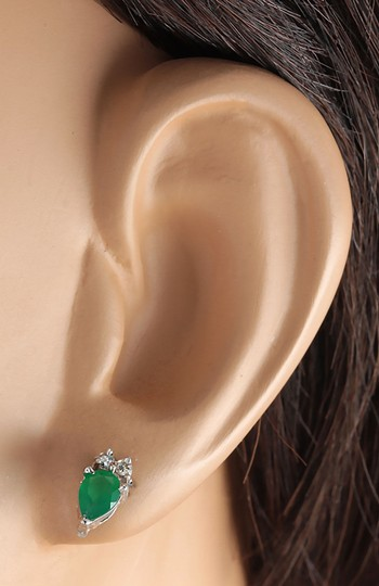 Fashion Strada 1.82 Carat Natural Emerald 14K White Gold Diamond Earrings Image 2