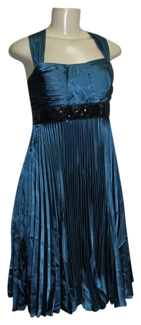 Preload https://item5.tradesy.com/images/js-collections-teal-fully-pleated-sleeveless-satin-w-sequined-line-above-knee-short-casual-dress-siz-2147654-0-0.jpg?width=400&height=650