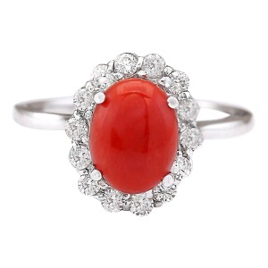 Fashion Strada 1.95 CTW Natural Coral And Diamond Ring In 14k White Gold
