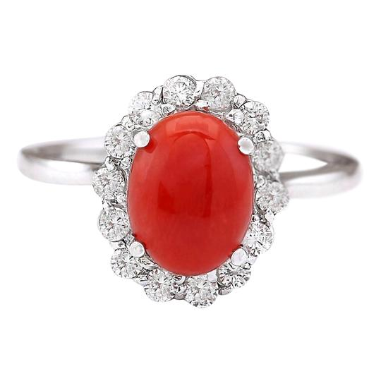 Preload https://img-static.tradesy.com/item/21476630/195-ctw-natural-coral-and-diamond-in-14k-white-gold-ring-0-0-540-540.jpg