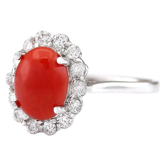 Fashion Strada 1.95 CTW Natural Coral And Diamond Ring In 14k White Gold Image 1