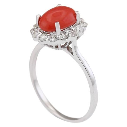 Fashion Strada 1.95 CTW Natural Coral And Diamond Ring In 14k White Gold Image 2