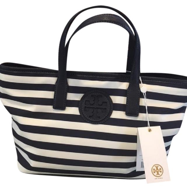 Item - Bag W Striped Small E/W Navy/Ivory Nylon Tote
