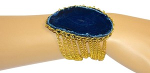 vip fashion vault Blue Agate Slice Gemstone Gold Plated Rope Chain Bracelet One Size