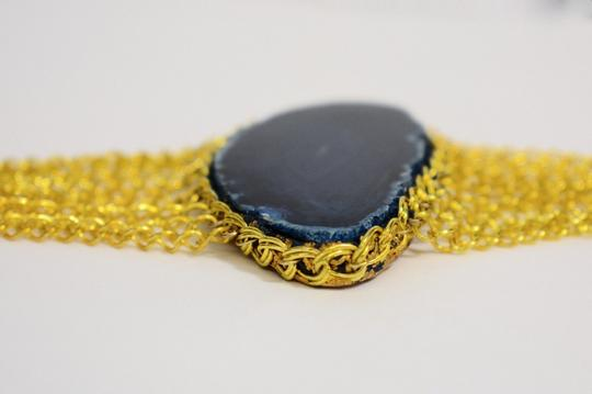 vip fashion vault Blue Agate Slice Gemstone Gold Plated Rope Chain Bracelet One Size Image 1