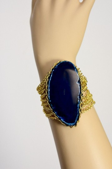vip fashion vault Blue Agate Slice Gemstone Gold Plated Rope Chain Bracelet One Size Image 11