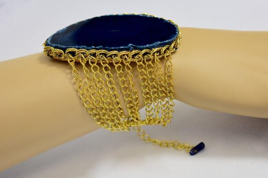 vip fashion vault Blue Agate Slice Gemstone Gold Plated Rope Chain Bracelet One Size Image 4