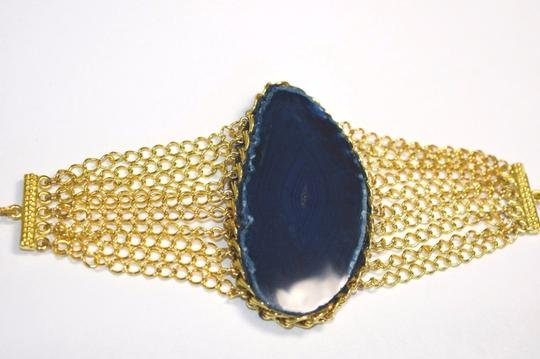 vip fashion vault Blue Agate Slice Gemstone Gold Plated Rope Chain Bracelet One Size Image 5