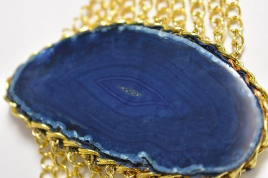 vip fashion vault Blue Agate Slice Gemstone Gold Plated Rope Chain Bracelet One Size Image 6
