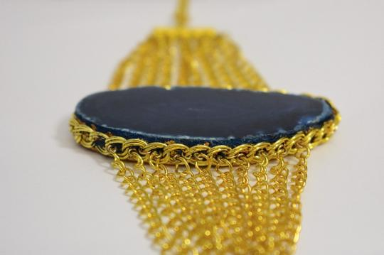 vip fashion vault Blue Agate Slice Gemstone Gold Plated Rope Chain Bracelet One Size Image 8