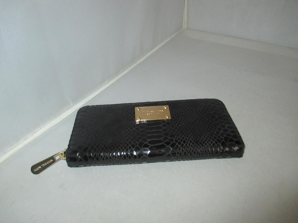 e1b159a2c0385 Michael Kors Jet Set Embossed Python Patent Leather Zip Around Continental  Wallet Image 9. 12345678910