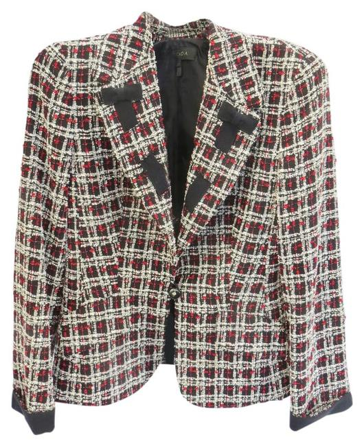 Item - Multi Color Black/White/Grey/Red Boucle with Ribbon Accent Blazer Size 8 (M)