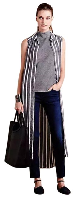 Item - Grey White Striped XS Holding Horses Lagenlook Button Down Sleeveless Long Casual Maxi Dress Size 0 (XS)
