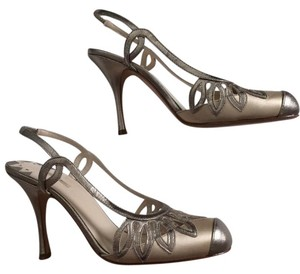Max Studio Leather Slingback ivory, silver Pumps