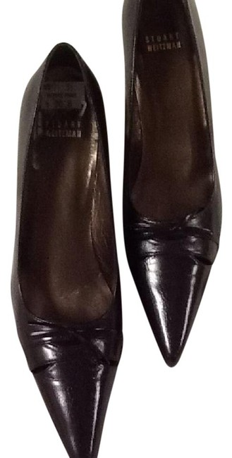 Item - Dark Brown Bow Pointed Toe Leather Pumps Size US 8.5 Narrow (Aa, N)