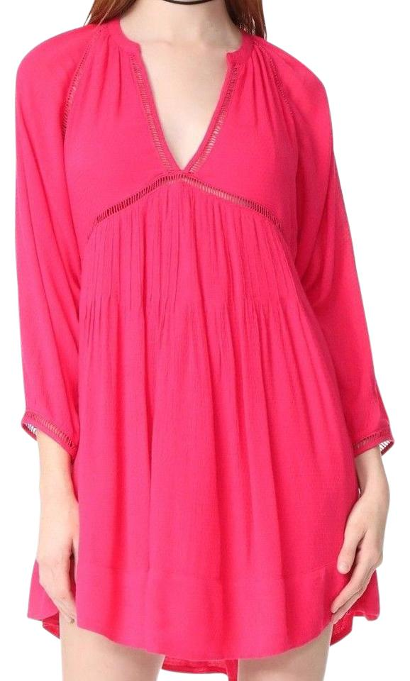 Free People Hot Pink Go Lightly Deep V Neck Night Out Dress