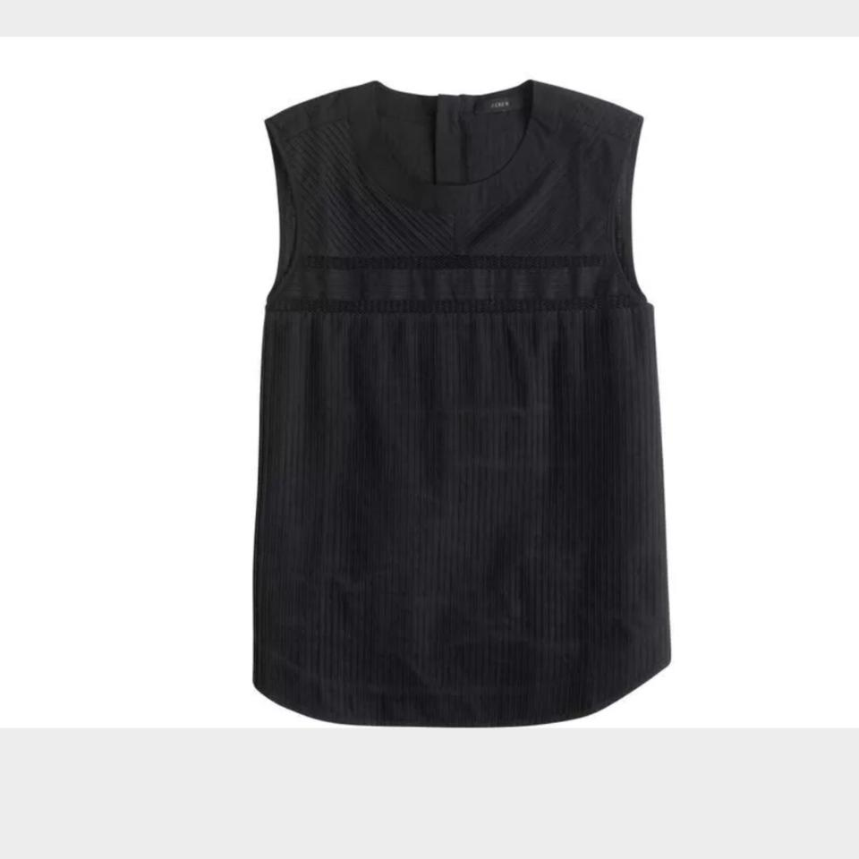 Crew Sleeveless Black Cotton Blouse Pleated J zga1xUZ