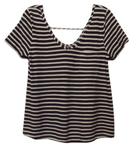 Anthropologie New Knit French Sailor Pure Top Navy + White