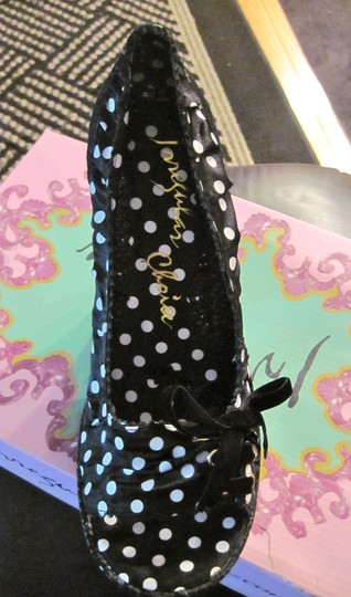 Irregular Choice Velvet Bow Sueded Black sequin polka dot Platforms Image 1