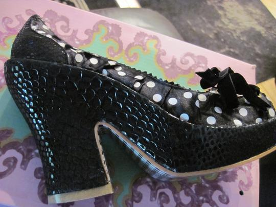 Irregular Choice Velvet Bow Sueded Black sequin polka dot Platforms Image 2