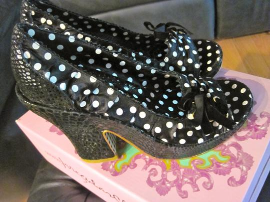Irregular Choice Velvet Bow Sueded Black sequin polka dot Platforms Image 3