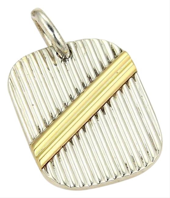 Item - Yellow Gold Silver Sterling Ribbed Tag Pendant Charm