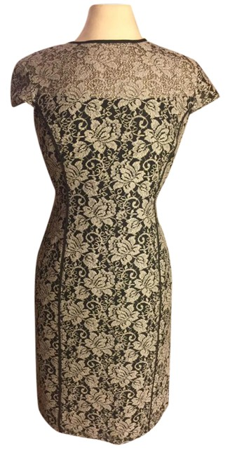 Item - Black/White/Gray Nwot-sz York/Andrew & Hint Faux Lace/Black Netting Capped Sleeved Mid-length Formal Dress Size 8 (M)