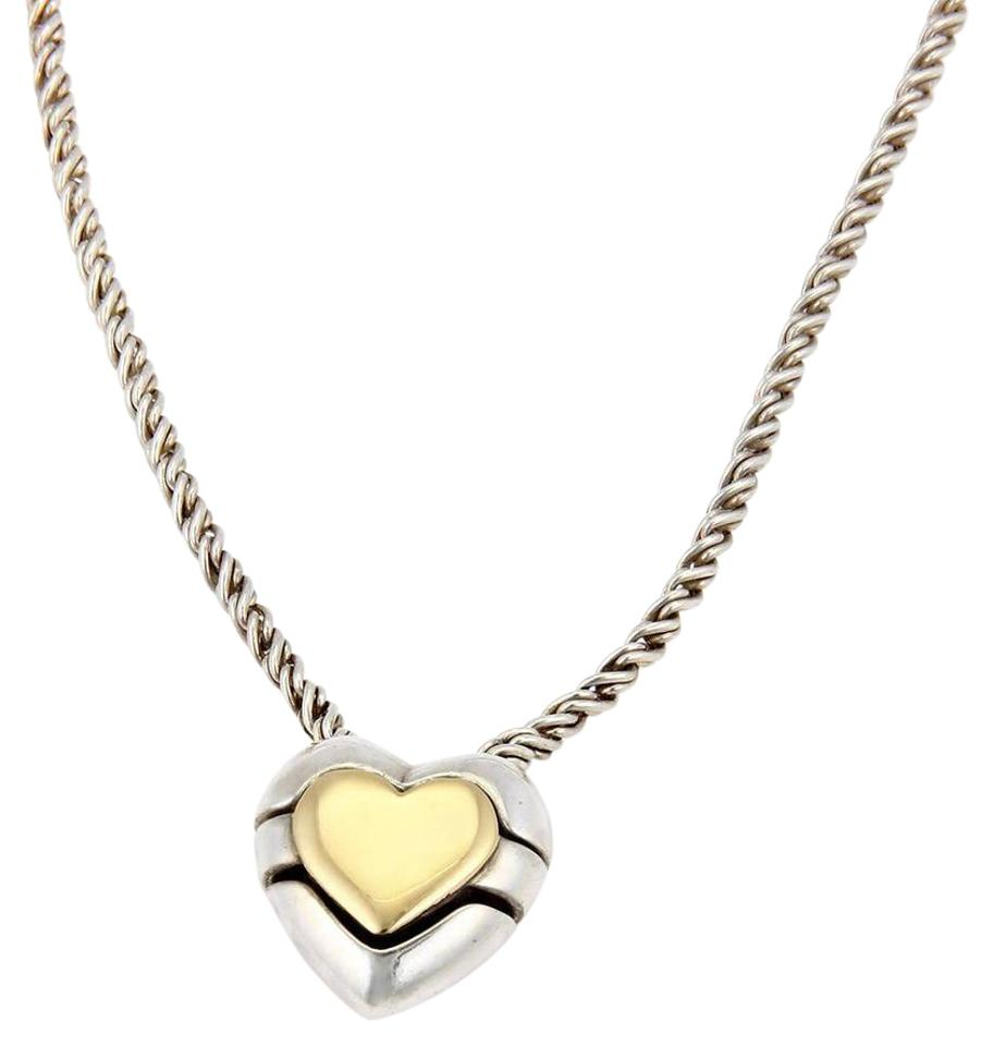 Tiffany co yellow gold silver sterling 3 parts slide heart sterling silver 18k yellow gold 3 parts slide heart pendant necklace mozeypictures Gallery