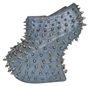 Jeffrey Campbell Bootie Wedge Heel Slip On Platform BLUE Sandals