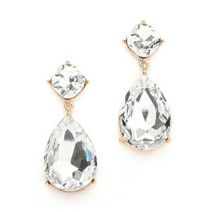 Set Of (3) Gold Plated Pear Shaped Crystal Drop Earrings