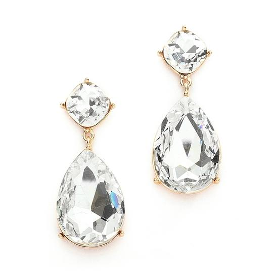 (3) Gold Plated Pear Shaped Crystal Drop Earrings