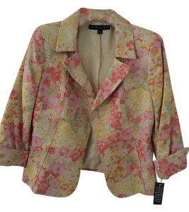 Nipon Boutique yellow pink floral Blazer